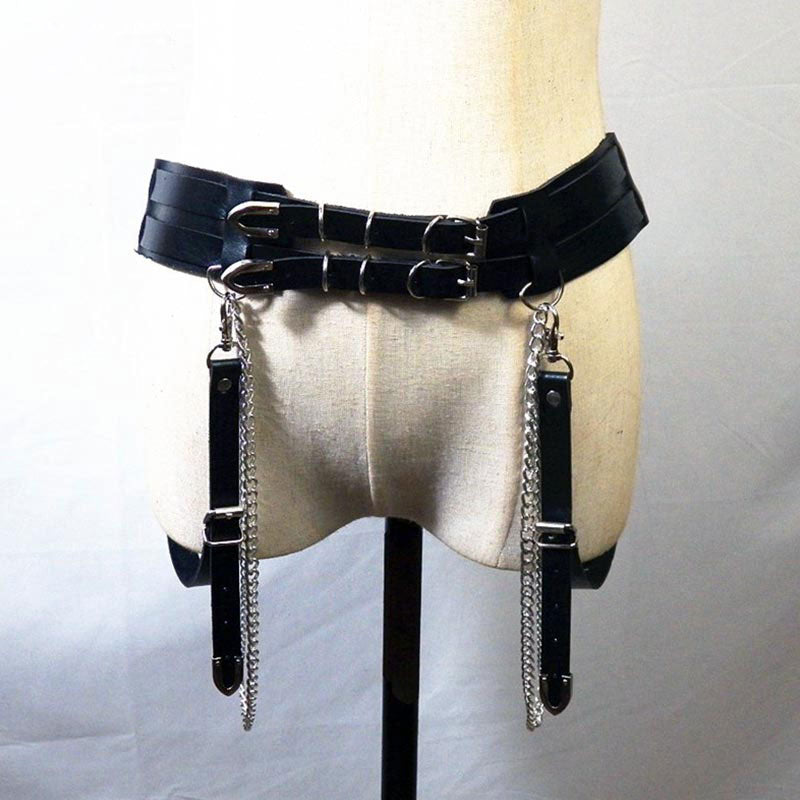 Double Layer Leather Garter Belt