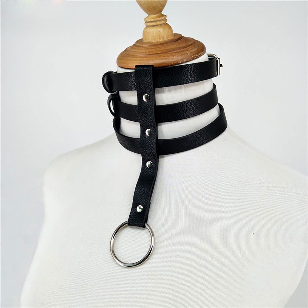 Harness Collar Leather Necklace Cord Bdsm Bondage