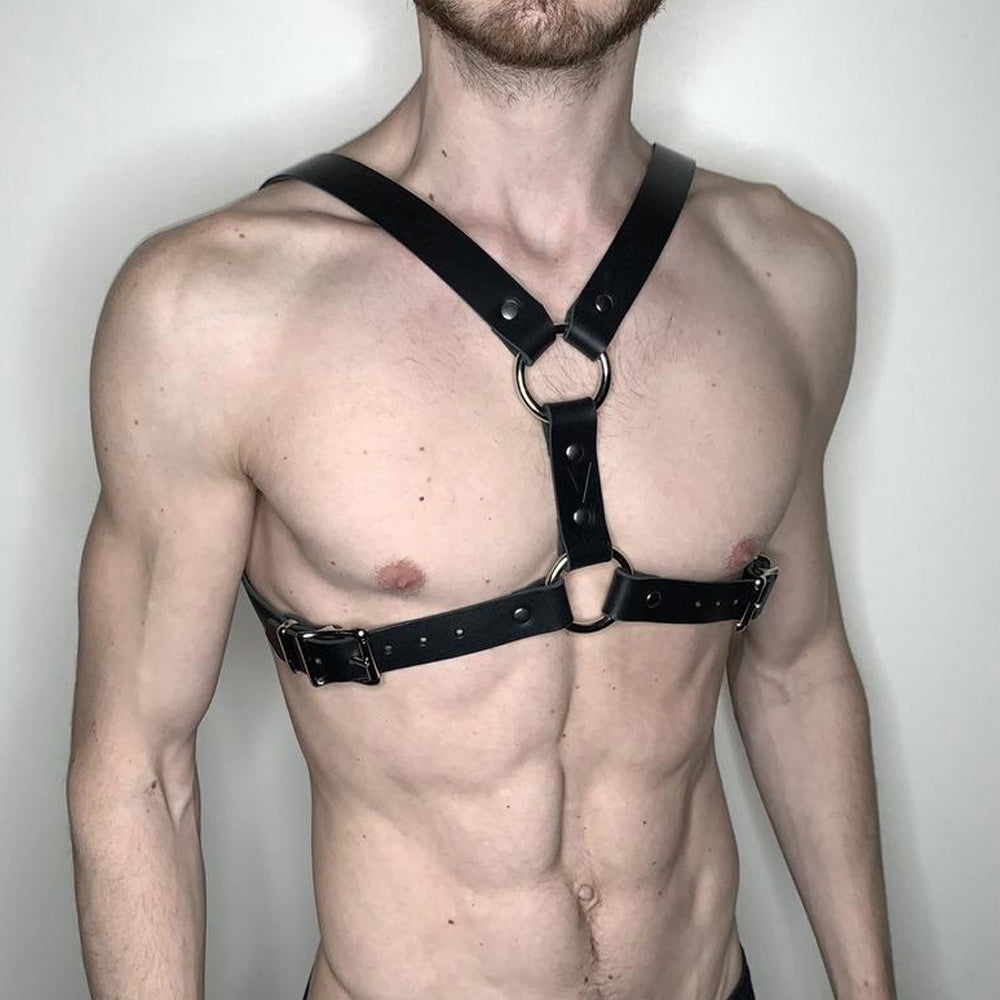 Leather Harness Belt For Man Pastel Goth Body Strap