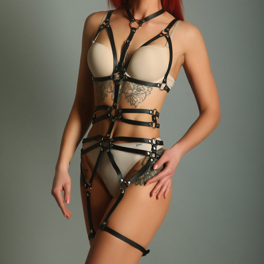 Leather Sexual Lingerie Garter Harness