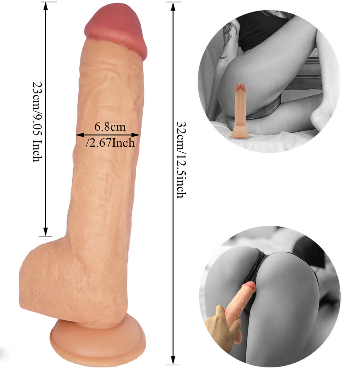 RStrap On 12.5-Inch Realistic Dildo