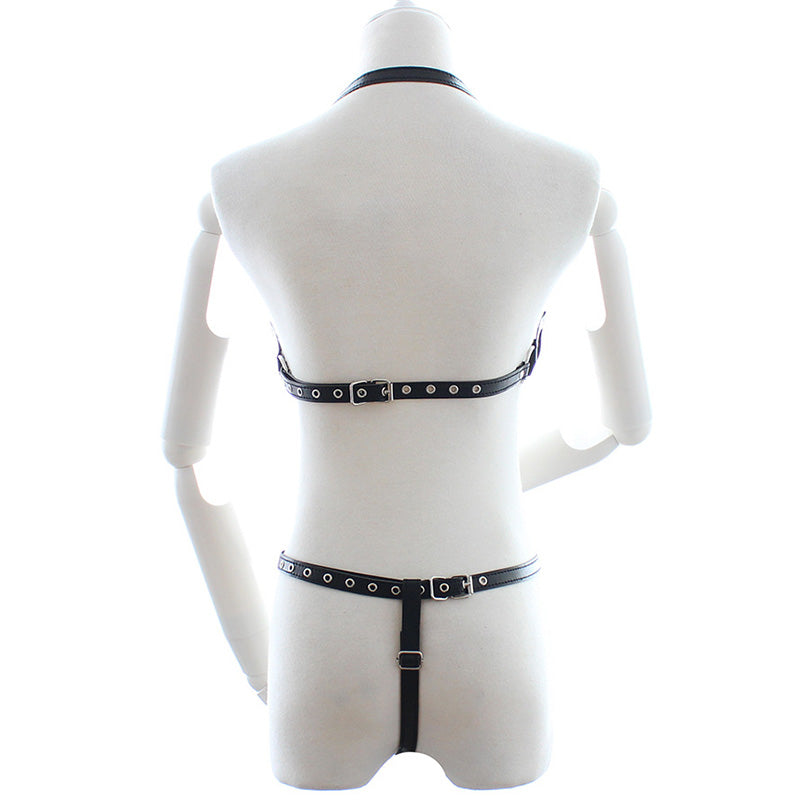 Sexy Leather Harness Set Women Bra Garter