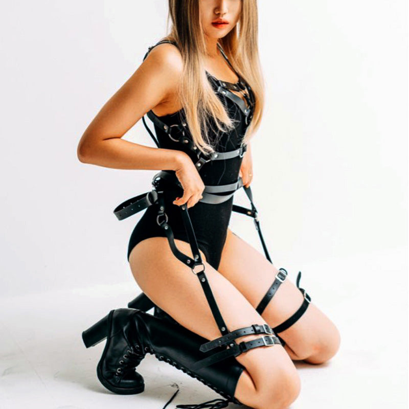 Sexy Leather Leg Garter Body Cage