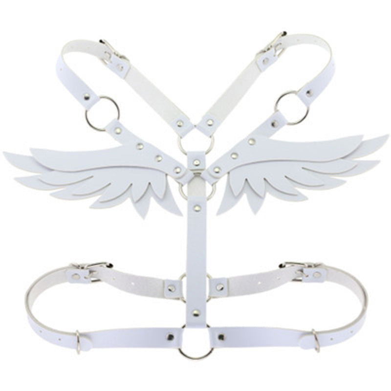 Wings Red Leather Harness Punk Body Chain