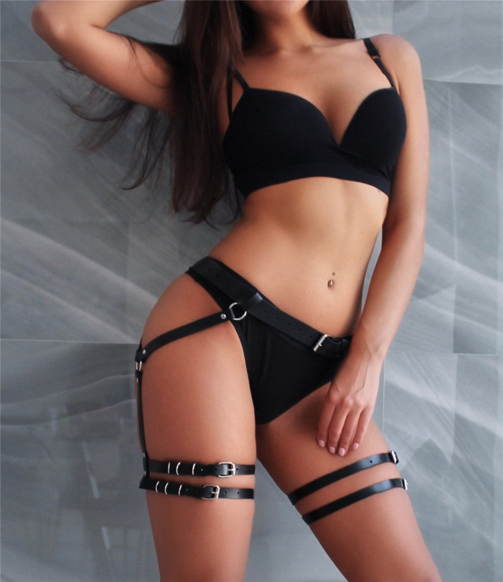 Women Leather Harness Garter Belt