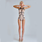 Tie Body Cage Bra Set Black