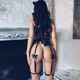 Leather Harness Stocking Garters Female Leg Cage