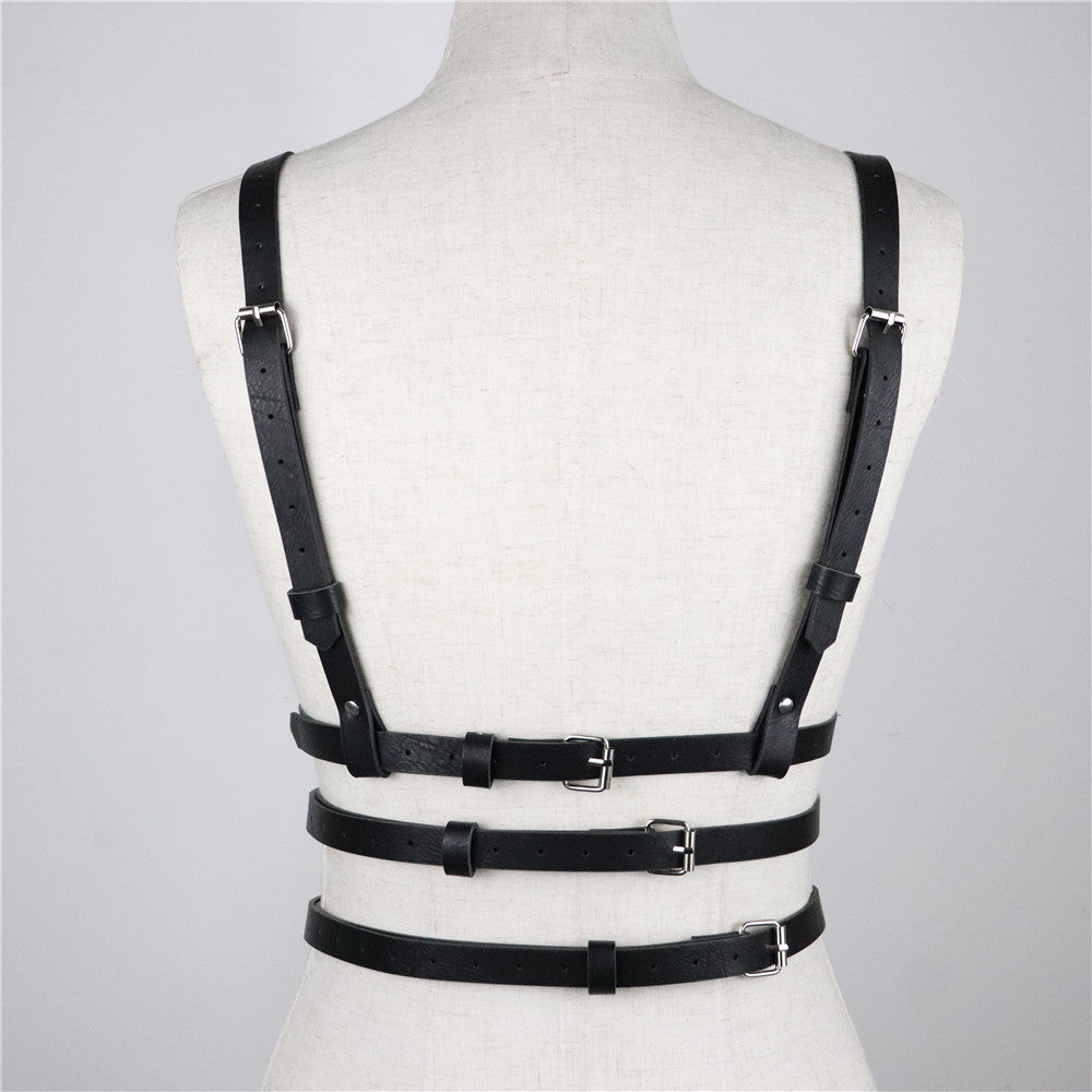 Women Leather Belts Slim Bondage Cage