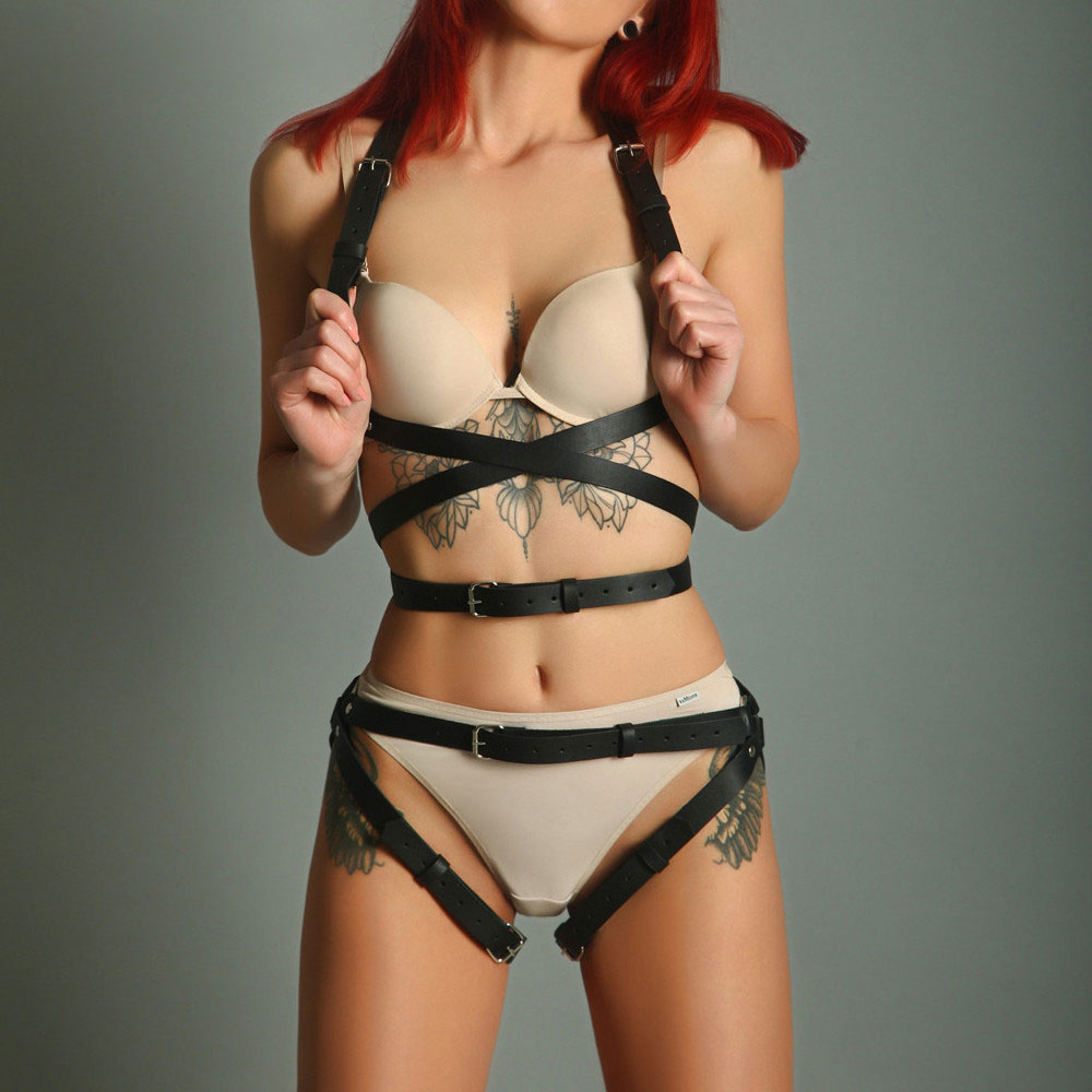 Women's Crop Top Stockings Bra Bondage Harness