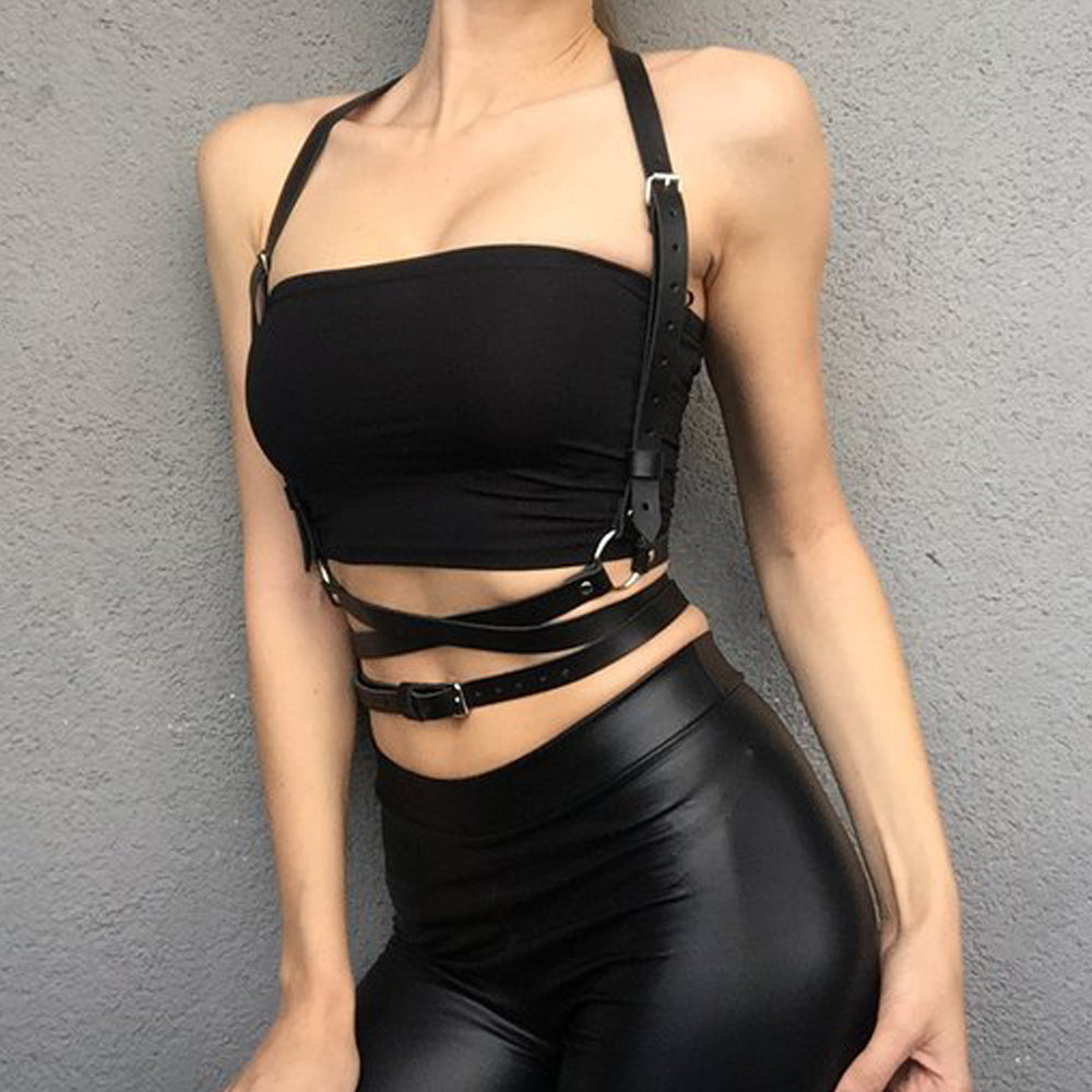Women's Crop Top Stockings Bra Bondage Set