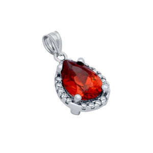 RHODIUM PLATED RED TEARDROP CZ PENDANT WITH ALL AROUND CLEAR CZ STONES