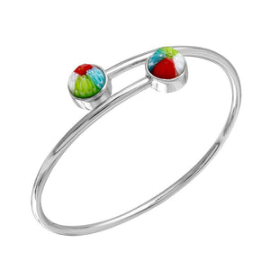 MULTICOLOR MURANO MILLEFIORI FACETED ROUNDS BANGLE 7""