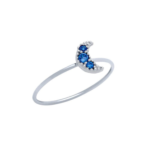 PAVE BLUE CZ MOON STACKABLE RING