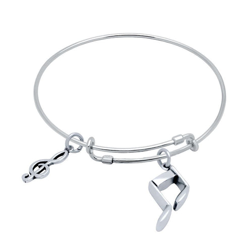 STERLING SILVER EXPANDABLE MUSIC CHARM BANGLE