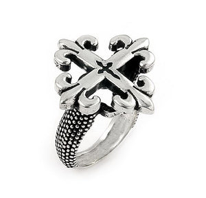 TWISTED BLADE SILVER SMALL FLEUR DE LIS CROSS RING