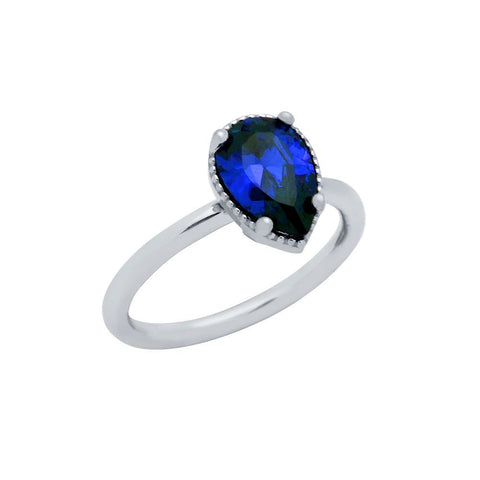 RHODIUM PLATED BLUE TEARDROP CZ RING