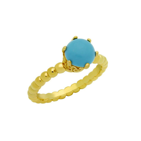GOLD PLATED BEAD DESIGN RING WITH 5MM PRONG SET CABOCHON TURQUOISE