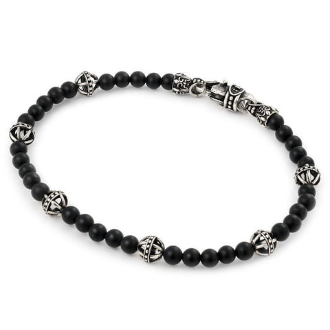 TWISTED BLADE BRACELET WITH BLACK AGATE AND BALL LINK BEADS 7""