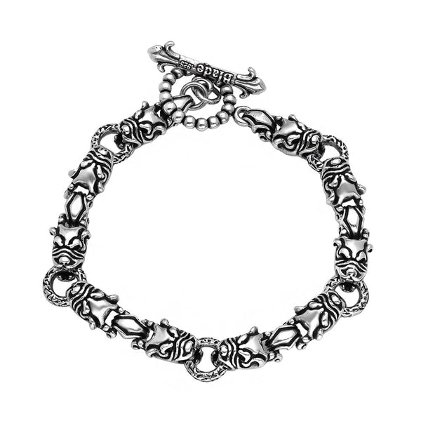 TWISTED BLADE SILVER DOG-LINK BRACELET TOGGLE LOCK