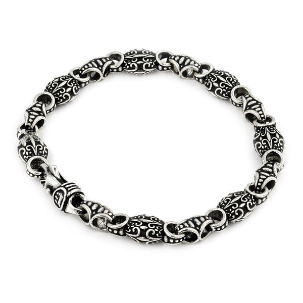 TWISTED BLADE INTRICATE OVAL LINK BRACELET