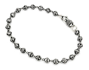 TWISTED BLADE SILVER SMALL 5MM STUDDED BALL LINK BRACELET