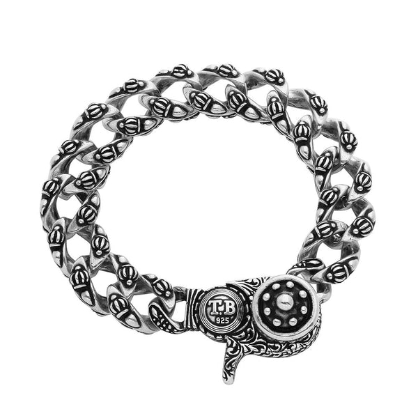 TWISTED BLADE SILVER CROWN PATTERN CURB-LINK BRACELET