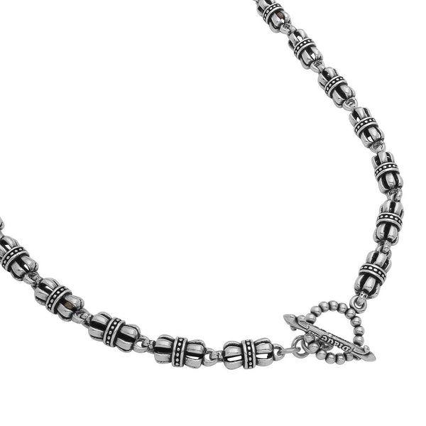 TWISTED BLADE SILVER CROWN-LINK CHAIN NECKLACE