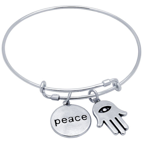 STERLING SILVER EXPANDABLE BANGLE WITH PEACE AND HAMSA CHARMS