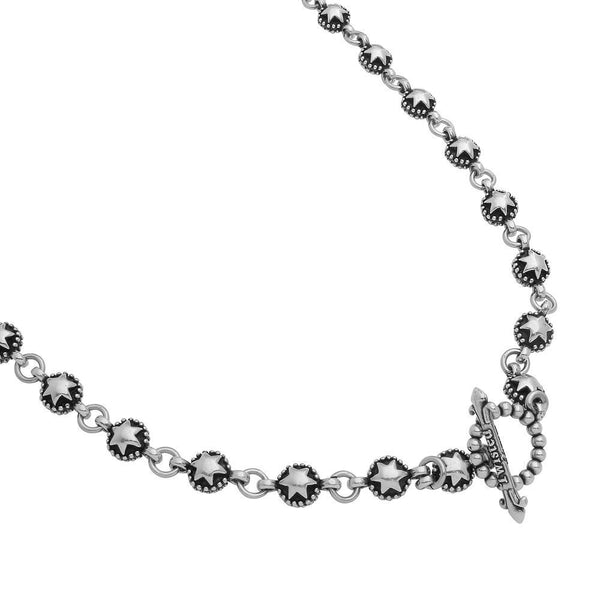 TWISTED BLADE SILVER STAR-LINK CHAIN NECKLACE