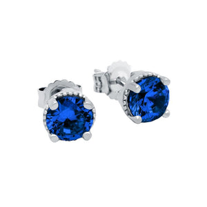 RHODIUM PLATED SEPTEMBER BIRTHSTONE SAPPHIRE BLUE ROUND CZ STUD EARRINGS