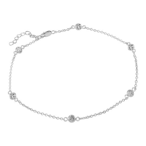 4MM BEZEL CZ BY THE YARD RHODIUM PLATED ANKLET