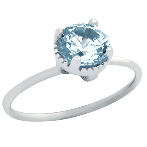RHODIUM PLATED MARCH BIRTHSTONE AQUAMARINE BLUE ROUND CZ RING