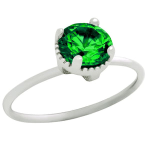 RHODIUM PLATED MAY BIRTHSTONE EMERALD GREEN ROUND CZ RING