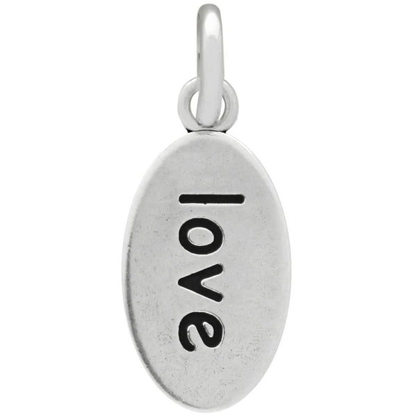 OVAL HEART AND LOVE SILVER CHARM