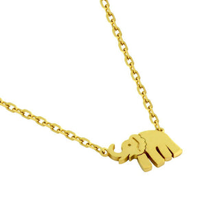 "GOLD PLATED ELEPHANT NECKLACE 16"" + 2"""