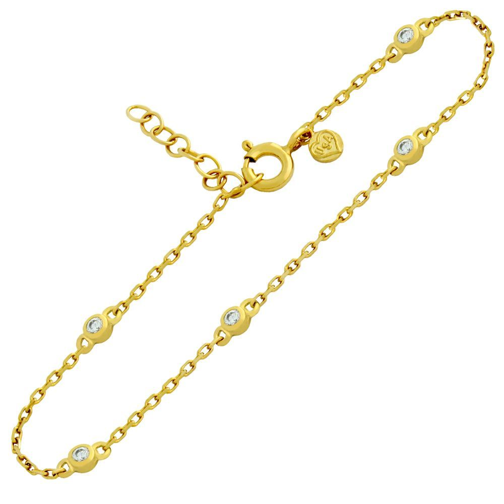 "GOLD PLATED 2MM CZ BRACELET 6.5"" + 1"""