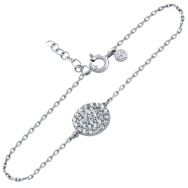 "RHODIUM PLATED SMALL CZ PAVE DISK BRACELET 6.5"" + 1"""