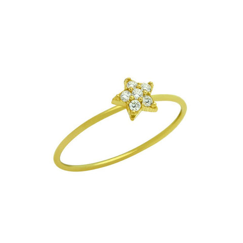 GOLD PLATED PAVE CLEAR CZ STAR STACKABLE RING