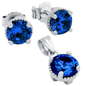 RHODIUM PLATED SEPTEMBER BIRTHSTONE SAPPHIRE BLUE ROUND CZ SET PENDANT AND EARRINGS