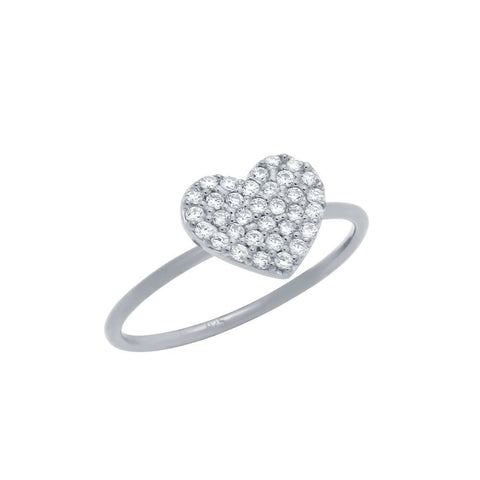 RHODIUM PLATED PAVE CZ HEART STACKABLE RING