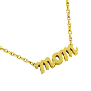 "GOLD PLATED HIGH POLISHED ""MOM"" NECKLACE 16"" + 2"""