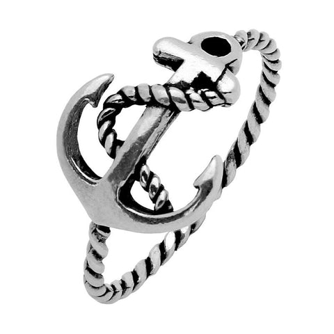 STERLING SILVER ORNATE ANCHOR RING WITH ROPE SHANK