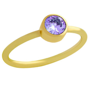 GOLD PLATED 5MM PURPLE SWAROVSKI CZ STACKABLE BAND RING