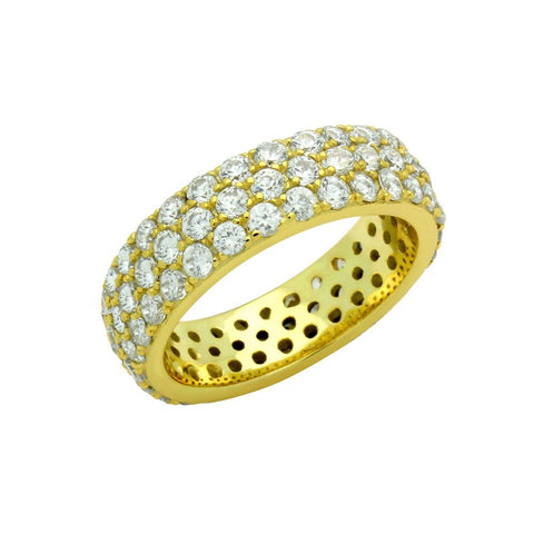 GOLD PLATED 3 ROW ROUND CZ BAND RING