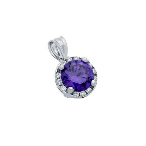 RHODIUM PLATED PURPLE ROUND CZ PENDANT WITH ALL AROUND SMALL CLEAR CZ STONES
