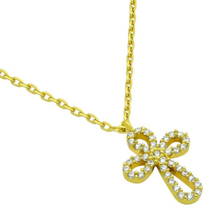"GOLD PLATED ROUNDED CROSS CZ NECKLACE 16"" + 2"""