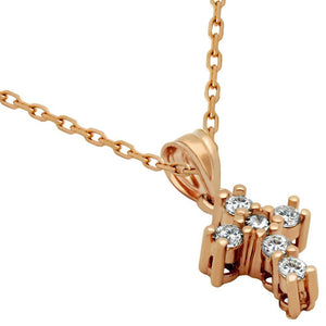 "ROSE GOLD PLATED SMALL CZ AND STERLING SILVER CROSS NECKLACE 16"" + 1"""