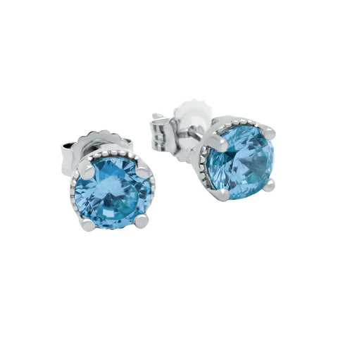 RHODIUM PLATED DECEMBER BIRTHSTONE BLUE TOPAZ COLOR ROUND CZ STUD EARRINGS