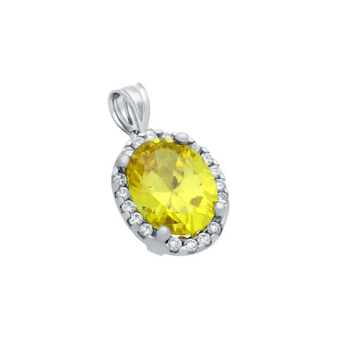 RHODIUM PLATED 8X10 LIGHT YELLOW OVAL CZ PENDANT WITH ALL AROUND CLEAR CZ STONES