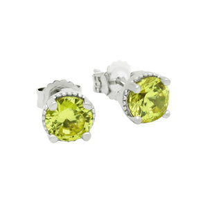 RHODIUM PLATED AUGUST BIRTHSTONE PERIDOT LIGHT GREEN ROUND CZ STUD EARRINGS